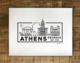 Athens Skyline Drawing - Mini Print/Poster - Multiple Sizes