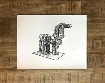 Iron Horse - Athens, Georgia - Print - Multiple Sizes - Original Illustration