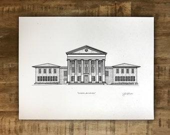 Lyceum Building - University of Mississippi - Ole Miss - Print - Multiple Sizes - Original Illustration