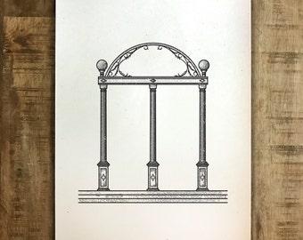 UGA Arch - Athens, Georgia - Print - Multiple Sizes - Original Illustration