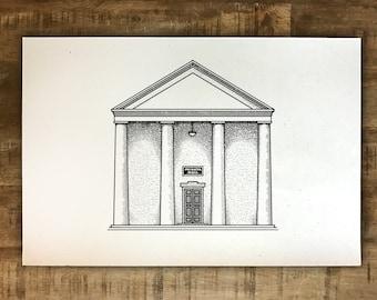 UGA Phi Kappa Hall - Athens, Georgia - Print - Multiple Sizes - Original Illustration