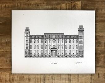 Old Main Building - University of Arkansas - Print - Multiple Sizes - Original Illustration