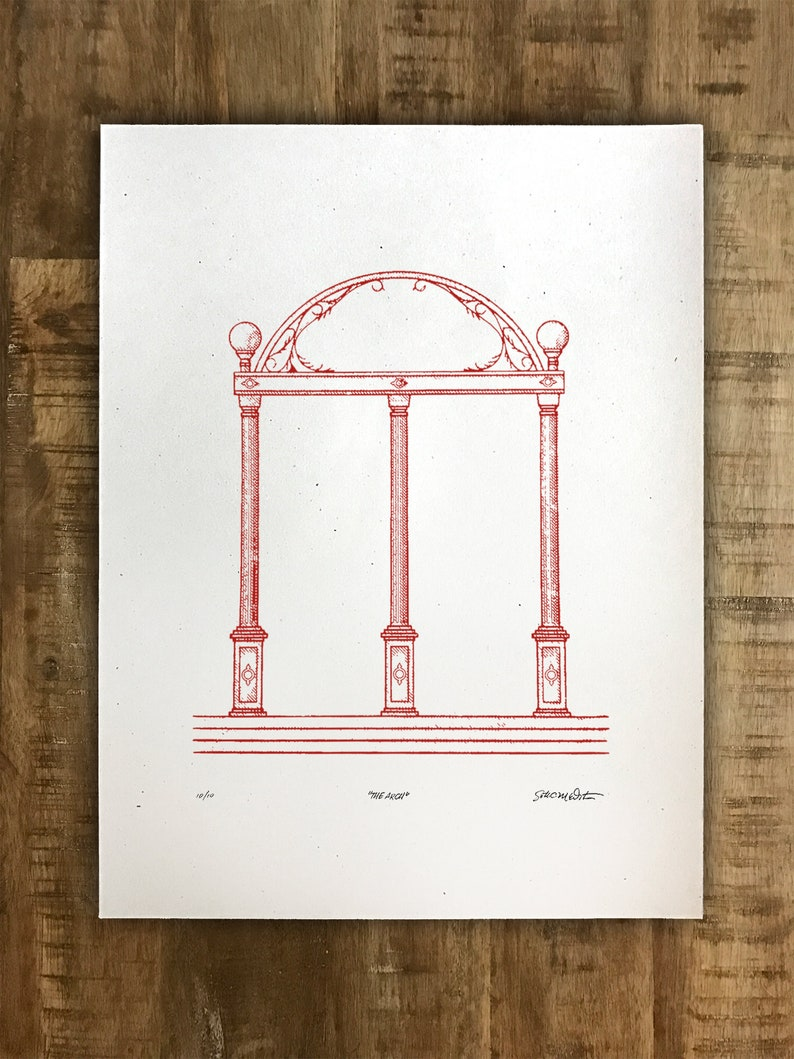 Special Edition UGA Red Arch Print  18x24  Athens image 0