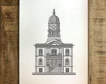 Athens, Georgia - City Hall - Print - Multiple Sizes - Original Illustration