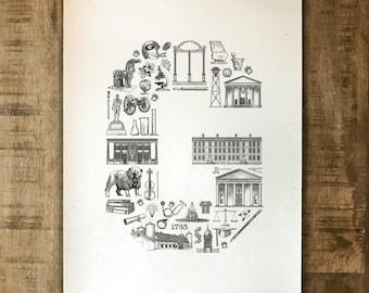 "Landmarks ""G"" - University of Georgia - Athens, Georgia - 11x14"" Print - Original Illustration"