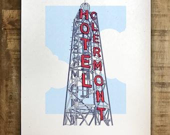 Hotel Clermont Tower - Atlanta, Georgia - Illustration - Multiple Sizes - (Original Print)