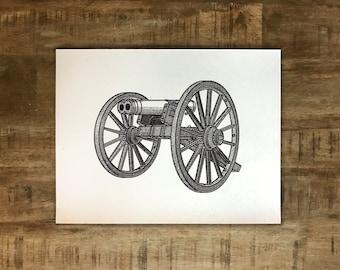 Double Barrel Cannon - Athens, Georgia - Print - Multiple Sizes - Original Illustration
