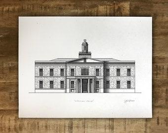University of Georgia Law School - Hirsch Hall - Athens, Georgia - Print - Multiple Sizes - Original Illustration