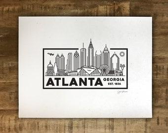 Atlanta Skyline Drawing - Mini Print/Poster - Multiple Sizes