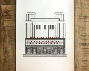 Georgia Theatre Illustration - Customizable Marquee - Print - Multiple Sizes - Original Illustration
