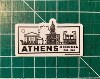 """Athens Skyline Illustration - Vinyl Sticker - 3x2"""" - FREE SHIPPING"""
