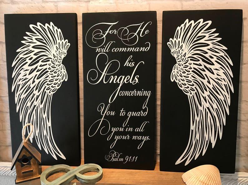 Angel Wings Wall Decor, Psalm 91:11 Angels Scripture Verse, Shabby Chic  Decor, Nursery Decor, Baby Shower Gift, Housewarming, Angel Ornament