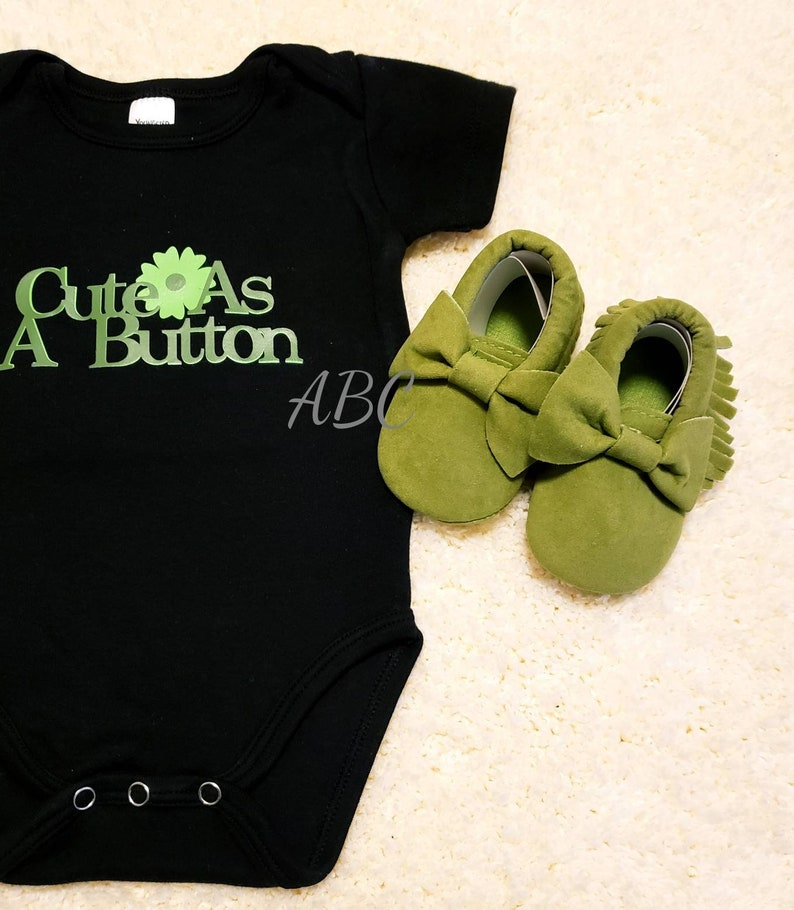 The Cute As A Button Baby Girl Bodysuit With Crib Shoes By ArricksBabyCakes    Adorable Baby Items~Handmade~Custom Onesie~Baby Girl Outfit