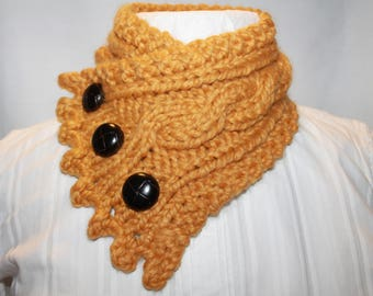 Knit Cowl, Fishermans Wife Cowl, Neck Warmer, Knitted Cowl, Cable Knit Scarf, Color Mustard, Fits most Women and Teens