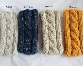 Headband, Ski Band, Knit Headband, Cable Knit Ear Warmer, Women and Teens Headband, Choice of 4 colors