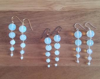 Snow earrings in opalite, gold filled, sterling silver, hypoallergenic niobium