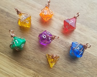 Wire wrapped dice pendants Dungeons and dragons playing dice necklace