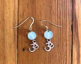 Ohm opalite earrings Sterling ear wires