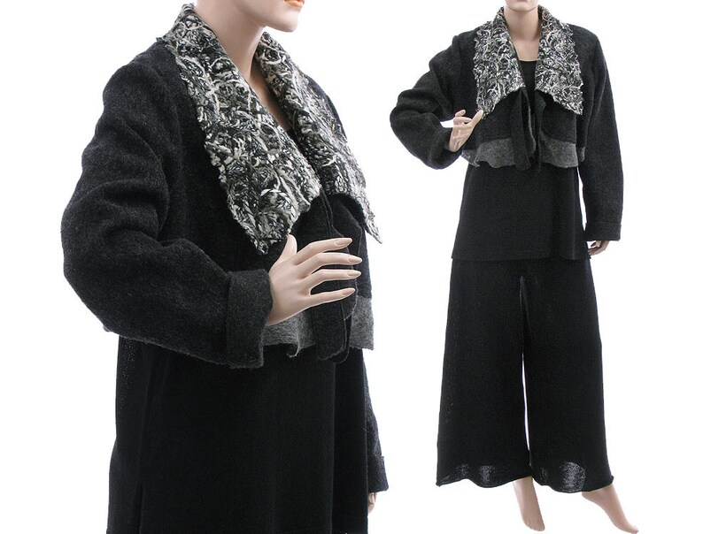 8ea07a055bd84 Boho black plus size jacket shrug black boiled wool short