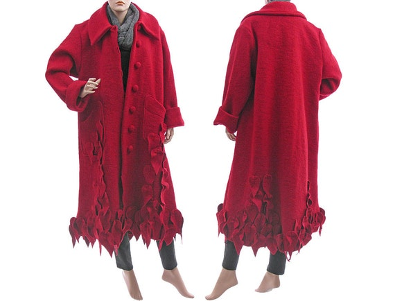 040976e7078 Plus size wool coat red fall winter coat long boho coat red