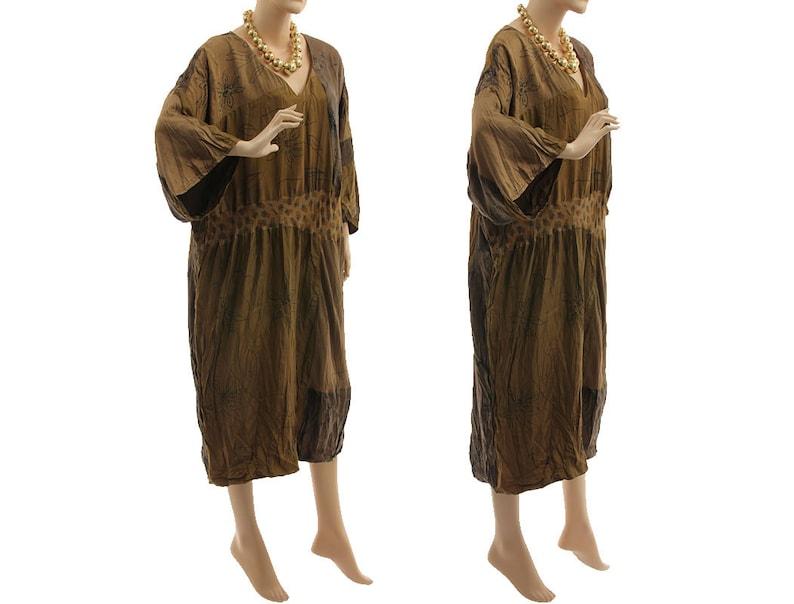oversize upcycled silk dress L-XXL lagenlook occasion silk dress US size 16-22 Patchwork silk plus size dress 100/% wrinkled silk dress
