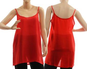 Silk slip dress in red, silk strappy tank top, red silk lingerie top, red silk summer top, pure red silk top plus size XL-XXL, US size 20-22