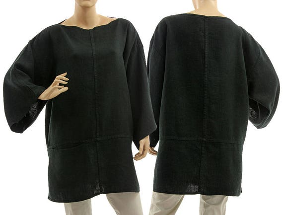 Black oversized linen tunic shirt, linen tunic with pocket, lagenlook boho black linen tunic for small to plus size women S-L, US size 8-14