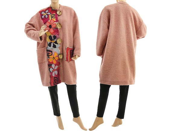 ffab90f4724 Boho plus size coat wool coat with felt fall winter