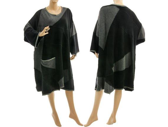 d7e2cb108b1 Oversized black grey knitted sweater dress fall winter wool
