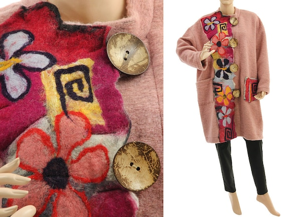 81a0ea42e22 Boho plus size coat wool coat with felt fall winter