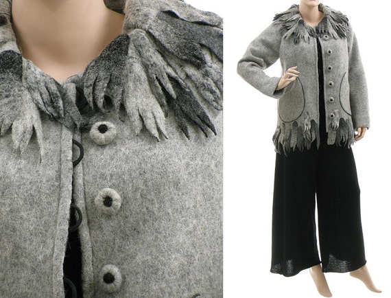 jacket grey wool US spring 6 winter M 10 lagenlook size boiled fall wool wool medium fringed size jacket grey small to Boho jacket grey S 10Yvgv