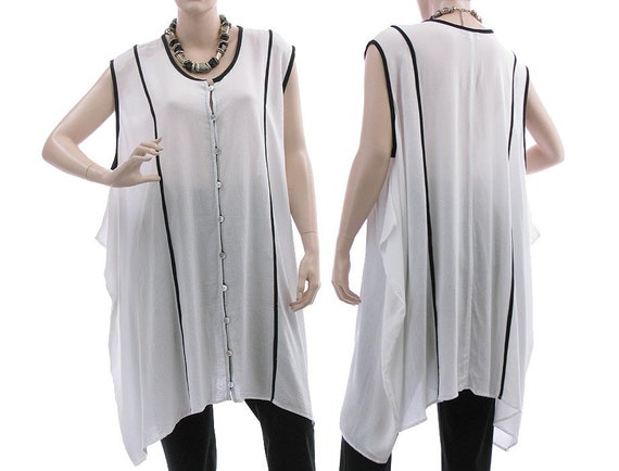 wide lagenlook tunic white Oversized size top M white rayon 18 tunic black 12 plus tunic size boho XL US women buttoned in with summer f76w7IxF