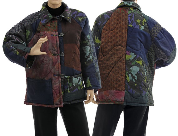 14 size lagenlook women to jacket size L patchwork medium Boho M blue jacket navy silk berry silk jacket US silk plus lightweight 100 10 PgqCwf