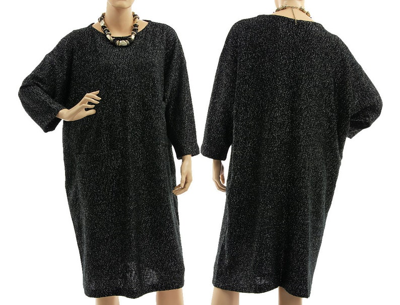6c00f4de481 Oversized black sweater dress black plus size merino wool