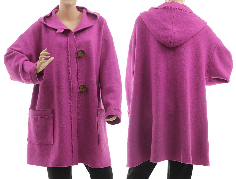 ac458aee731 Plus size hooded wool coat purple pink fall winter spring