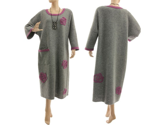 099629bb14b Plus size grey purple wool dress fall winter wool dress