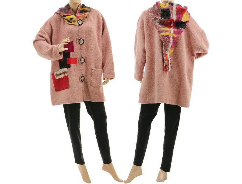8d09d65c7474b Boho hooded plus size jacket boiled wool jacket with felt