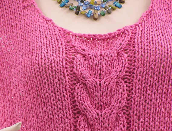 14 top plus Hand summer small mix ribbon cabled knitted pink top tank top cotton S tank to tank lagenlook size L US knitwear yarn size 8 XAUU4xq0w