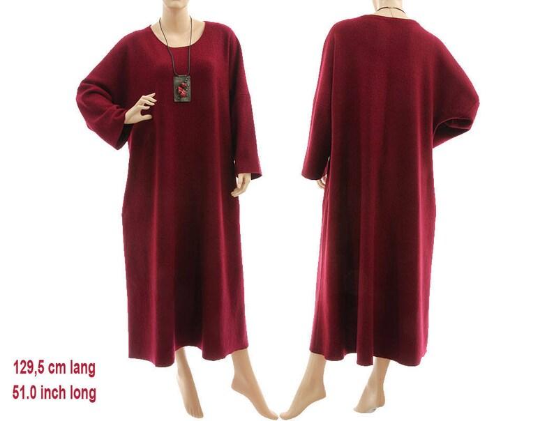 60fd53516472 Robe en laine de lagenlook Bordeaux maxi robe pull en laine