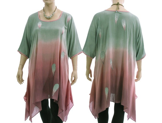US XXL leaves dyed with hand summer tunic green pink XL green summer plus 24 tunic lagenlook in tunic 18 oversized Boho size size pink HqRPnnc