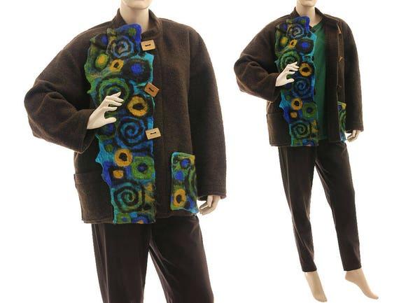 US plus winter XL jacket 18 size felt jacket size lagenlook Boho 14 appliqués boiled wool L brown jacket fall boiled wool women wool wxU6f0H
