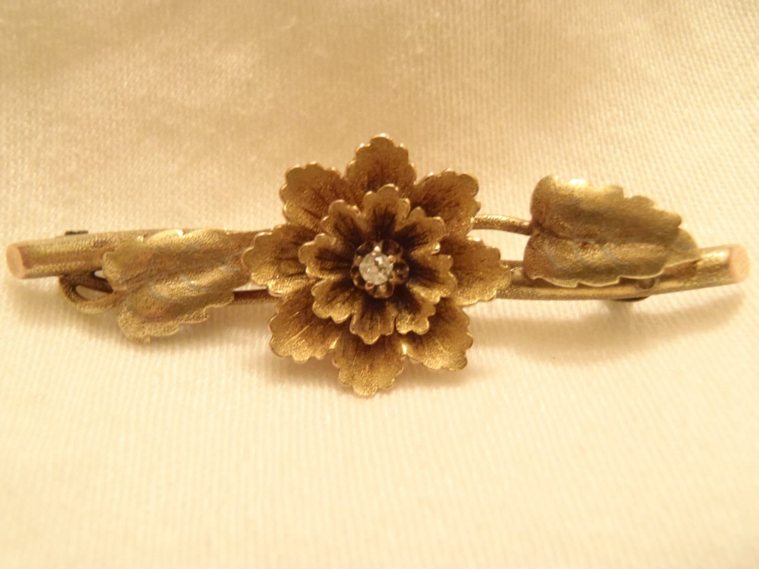 MINT Antique Solid 14K Gold And Rose Gold Flower And