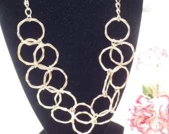 FINAL MARKDOWN Adjustable Silver Geometric Hammered Circle Necklace Up to 20 Inches