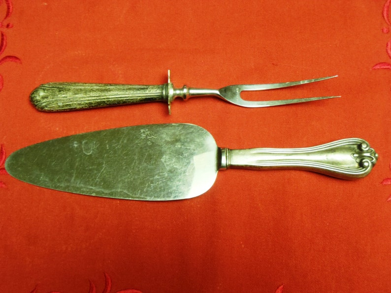 Antique Sterling Sheffield Cake Pie Server and Meat Fork