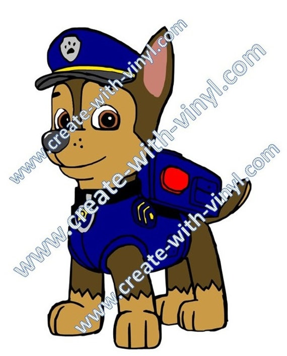 paw patrol chase police dog svg cameo cricut silhouette etsy