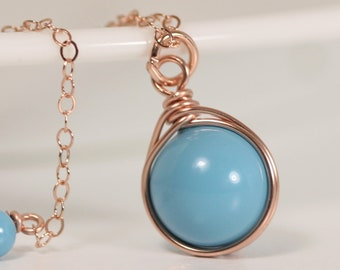 Rose Gold Turquoise Necklace Wire Wrapped Jewelry Handmade Rose Gold Necklace Rose Gold Jewelry Turquoise Jewelry Swarovski Pearl Pendant