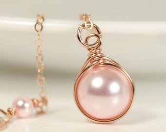 Rose Gold Pink Pearl Necklace Wire Wrapped Jewelry Handmade Rose Gold Necklace Rosaline Swarovski Pearl Necklace Pink Pearl Jewelry Bridal