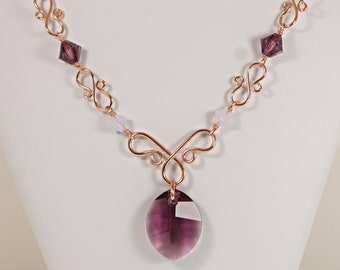 Rose Gold Amethyst Purple Necklace - Handmade Violet Opal Crystal Necklace February Birthstone Jewelry Gifts
