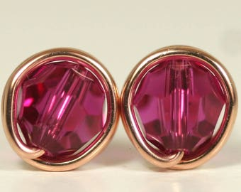 Rose Gold Fuchsia Swarovski Crystal Stud Earrings Wire Wrapped Jewelry Rose Gold Pink Stud Earrings Swarovski Crystal Jewelry Rose Gold Stud