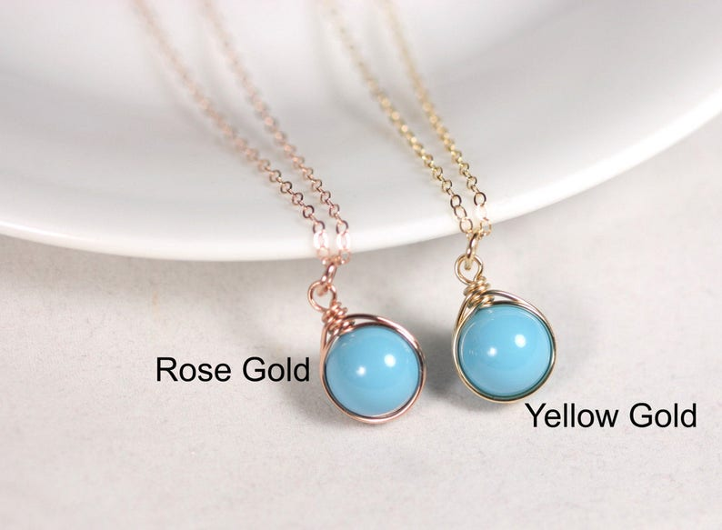 Rose Gold Turquoise Earrings Small Wire Wrapped Blue Pearl Dangles Handmade Jewelry Gifts for Women and Girls Matching Necklace Available